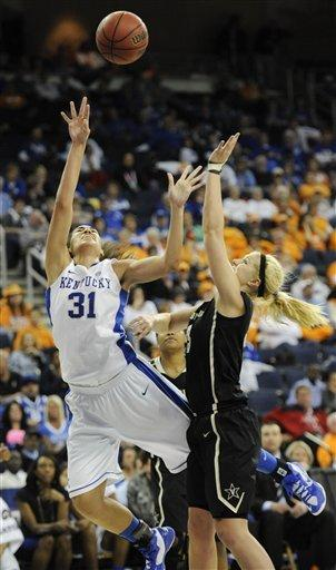 Kentucky center Samantha Drake shoots while defended by Vanderbilt, right, during the second half of an NCAA college basketball game in the Southeastern Conference tournament on Friday, March 8, 2013, in Duluth, Ga. (AP Photo/John Amis)