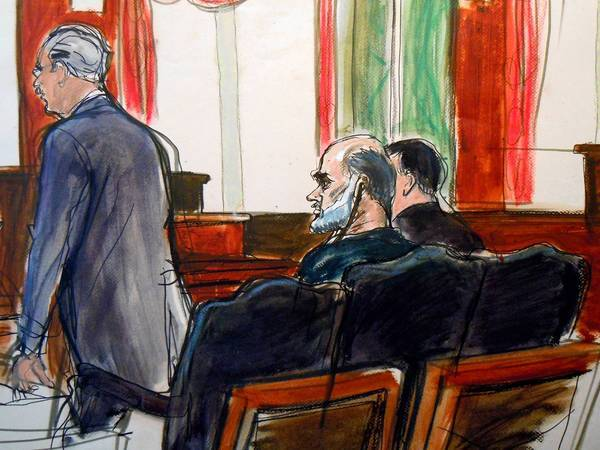 Osama bin Laden's son-in-law Sulaiman abu Ghaith is depicted listening as his court-appointed attorney, Philip Weinstein, speaks in federal court in Manhattan on Friday. Abu Ghaith, an Al Qaeda spokesman, pleaded not guilty to conspiracy to kill Americans in the Sept. 11 attacks.