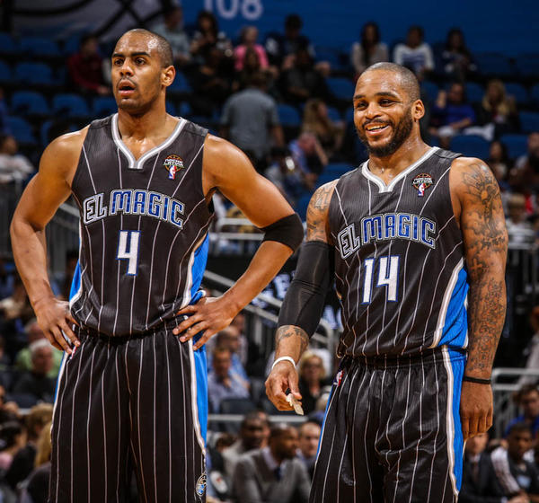Magic guard Arron Afflalo (4) and Jameer Nelson (14) react during second quarter action of a game against the Indiana Pacers at Amway Center in Orlando, Fla. on Friday, March 08, 2013. (Joshua C. Cruey/Orlando Sentinel)