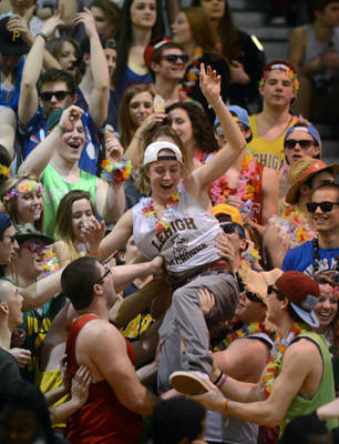 Central Catholic fans begin to celebrate their 64-51 victory over Northeastern during the first round of the PIAA 3A boys basketball tournament Friday.