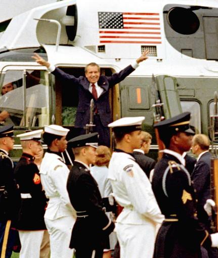 President Richard Nixon left Washington in August 1974, but the Watergate controversy followed him.
