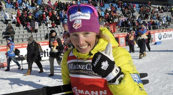 Kikkan Randall after clinching the World Cup sprint season title.  (Markku Ulander/ AFP/ Getty Images)