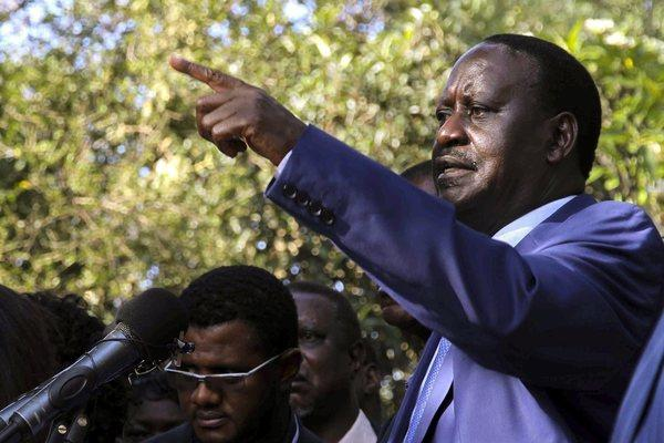 Kenya's outgoing Prime Minister Raila Odinga speaks during a press conference held after his main rival's victory was announced.