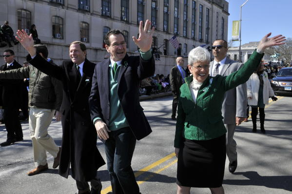 Sen. Richard Blumenthal, left, Gov. Dannel P. Malloy, center and Lt. Gov. Nancy Wyman march in the Hartford St. Patrick's Day Parade on Saturday, March 9, 2013