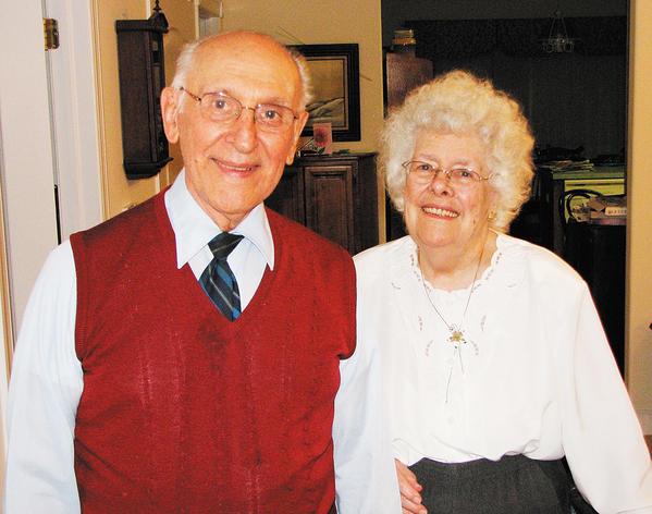 "Richard ""Dick"" Kunkel and Bertha ""Bert"" Kunkel show off their smiles in a recent photo."