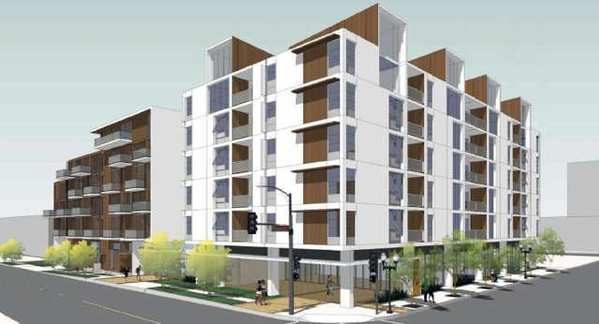 A rendering of the approved development at the intersection of Central and California in Glendale.