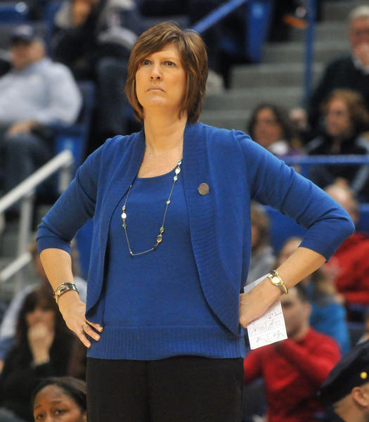 Seton Hall head coach Anne Donovan will coach the Connectcut Sun next season. Here she coaches in a second round game at the Big East Women's Basketball Tournament at XL Center Saturday afternoon.