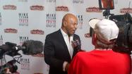"Mike Tyson answers questions before his show, 'The Undisputed Truth,"" Friday night at the Pantages Theater."