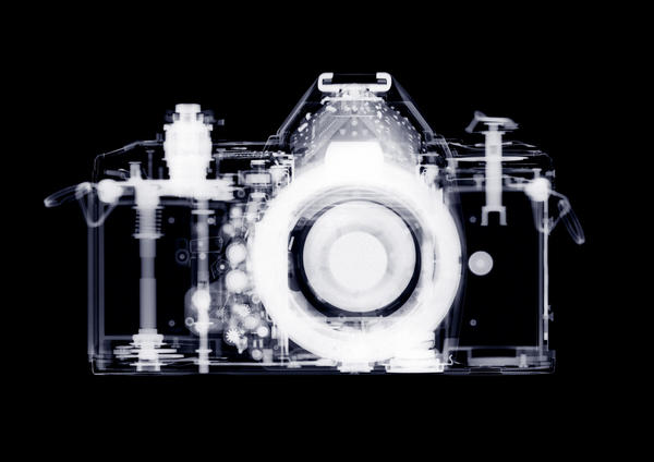 """35mm SLR Camera,"" by London artist Nick Veasey, is among the works on view at Williamsburg's Linda Matney Gallery in ""X-RA*DI*ANCE: Four Artists Explore the Technology of X-Rays."" Courtesy of the artist"
