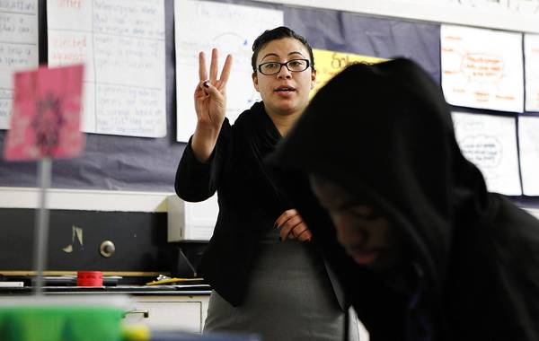 Stephanie Silva is a Teach for America instructor at Manual Arts High School in Los Angeles. Interns like her will be allowed to teach students struggling with English only under stricter state controls over their training and supervision, the state Commission on Teacher Credentialing unanimously decided Thursday.