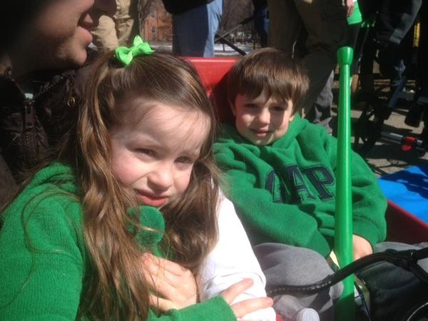The Dobratz family from Hamden prepares to watch the New Haven St Patrick's Day Parade.