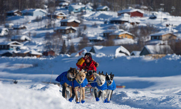 Musher Mitch Seavey leaves a checkpoint in Ruby, Alaska, in the 2012 Iditarod Trail Sled Dog Race.