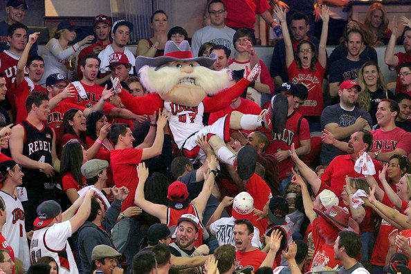 'Hey Reb' crowd-surfs at a University of Las Vegas Nevada basketball game.