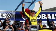 Matt Kenseth won on his 41st birthday for his new Joe Gibbs Racing team, barely holding off Kasey Kahne for his third victory at Las Vegas Motor Speedway on Sunday.