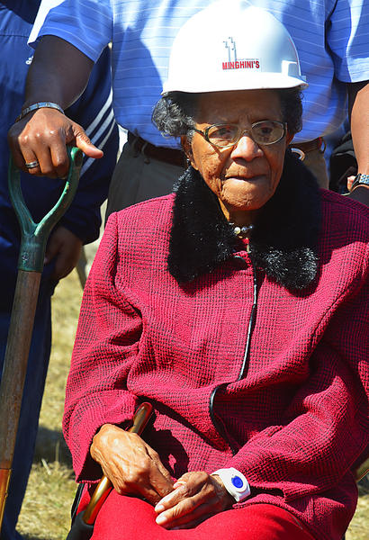 Genevieve Monroe, 94, the oldest member of the Asbury United Methodist Church congregation in Shepherdstown, W.Va., was one of the hard-hatted shovelers helping to break ground Sunday for an addition to the building.
