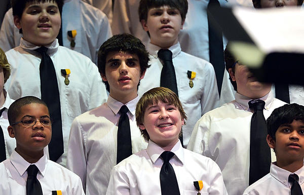 The All-State Junior Chorus performing Sunday at South Hagerstown High School includes Barbara Ingram School for the Arts student Josh Geblein, 14, bottom center.