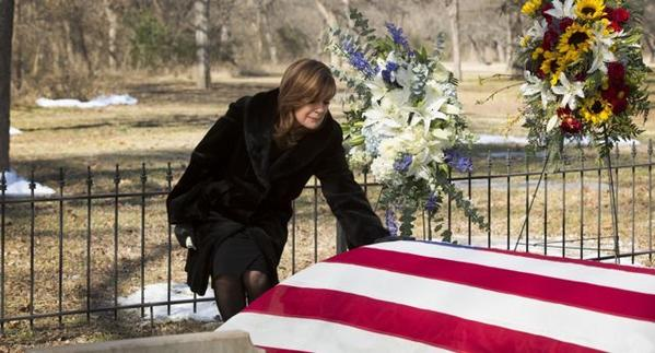 "Sue Ellen Ewing (Linda Gray) says goodbye to J.R. in the March 11 episode of ""Dallas"" on TNT."