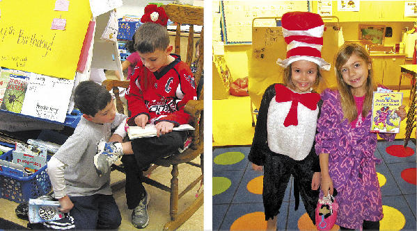 In the photo at left, Brady Neff and Scott Blanchard read a book. At right are Merrit Grove and Corrin Line.
