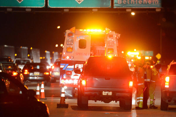 Traffic on 309 north is diverted away from 78 eastbound. A fatal accident Sunday on Interstate 78 in Upper Saucon Township involved three vehicles and stopped eastbound traffic. A woman, whose name was not released, was pronounced dead at the scene, said Lehigh County First Deputy Coroner Eric Minnich. Police said the wreck happened about 6 p.m.