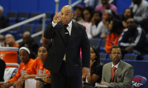 Syracuse Orange head coach Quentin Hillsman instructs his players during the second half against Villanova. Syracuse won, 61-56.