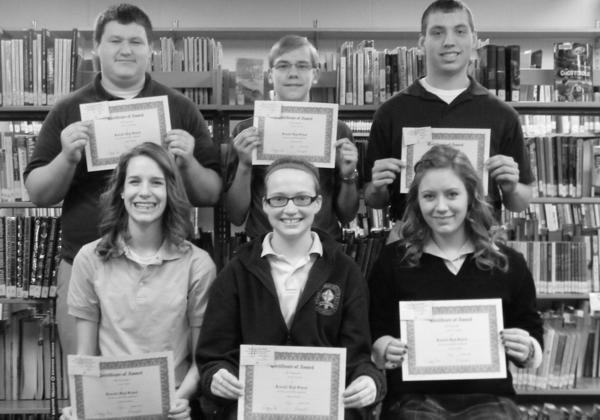 Students in each grade were honored as students of the month at Roncalli Junior/Senior High School for January. Back row, from left: sophomore Collin Hilzendeger, seventh-grader Robert Goscicki and junior Lucas Lorenz. Front row: freshman Grace Allen, eighth-grader Nicole Wanttie and senior Jenna Croymans.