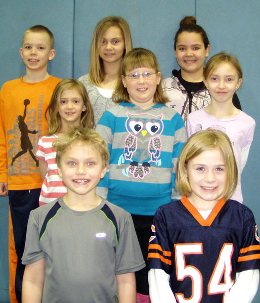 Students in first through sixth grade were named students of the month at the Aberdeen Christian School. Back row, from left: Trey Harms, Abbie Siefken and Morgan Eichler. Middle row: Rylie Pietz, Sophie Bosma and Bailey Hunstad. Front row: Joseph Pulfrey and Emma Scheidt. First-grade students of the month were Sophie, daughter of Rich and Jana Bosma, and Bailey, daughter of Tara Hunstad. Rylie, a second-grader, is the daughter of Russ and Ginger Pietz. Joseph is the son of Jamie and Kimberly Pulfrey. He is a third-grader. Fourth-grader Emma is the daughter of John and Heather Scheidt. Morgan, a fifth-grader, is the daughter of Keith and Suzan Eichler. Sixth-graders named students of the month were Abbie, daughter of Sara Siefken, and Trey, son of Tim and Tracy.