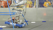 Petoskey's robot, No. 3618, prepares to make its ascent up the pyramid during one of the matches.