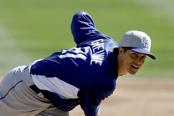 Dodgers pitcher Zack Greinke during an exhibition game against the Chicago White Sox in Glendale, Ariz.