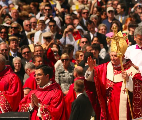 Pope Benedict XVI waves to the crowd as he leaves Nationals Park after the conclusion of Mass during a visit in 2008 to the United States.