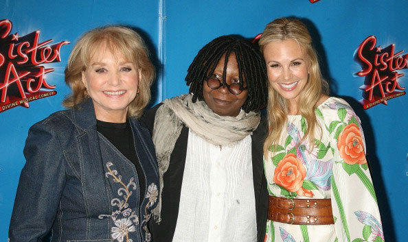 TV personality Barbara Walters, actress/producer Whoopi Goldberg and TV personality Elisabeth Hasselbeck attends the Broadway opening night of 'Sister Act' at the Broadway Theatre on April 20, 2011 in New York City.