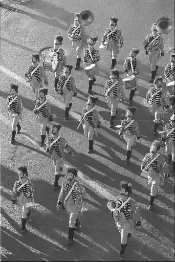 Members of the First Company Governor's Foot Guard lead New Britain's 1996 Memorial Day Parade down Washington St. in New Britain.