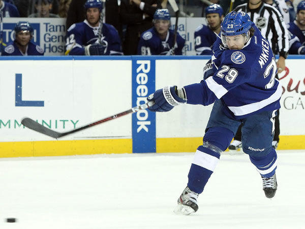 Tampa Bay Lightning defenseman Brendan Mikkelson (29) shoots during the second period against the Edmonton Oilers.