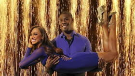 Jacoby Jones and Karina Smirnoff dance with the starlets at Owings Mills JCC