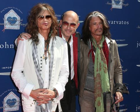 From left, recording artist Steven Tyler, fashion designer John Varvatos and recording artist Joe Perry.