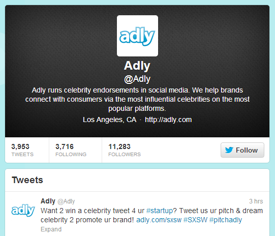 Adly is hosting a contest on Twitter for start-ups that want a celebrity endorsement.