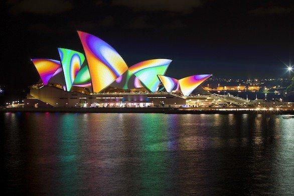 Light installations, courtesy of Vivid Sydney, projected on the Opera House.