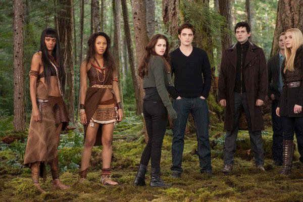 """The Twilight Saga: Breaking Dawn - Part 2"" cast members, from left, Judith Shekoni, Tracey Heggins, Kristen Stewart, Robert Pattinson, Christian Camargo, Peter Facinelli and Casey LaBow in a scene from the film."