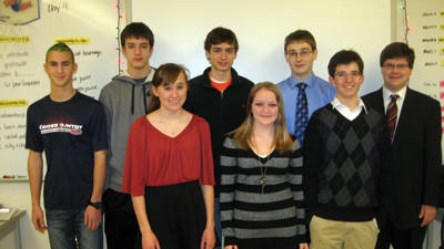 Somerset C Team, grades 9-10, from left, front row: Liz Brunelli, Rebecca Herwig, Willis Walker. Back row: Shane Ickes, Michael Ream, Christopher Yablonski, Ben Gibson and Max Myers.