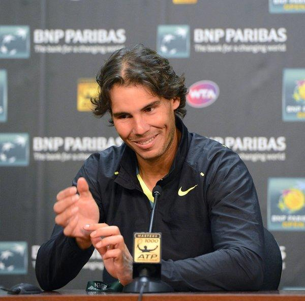 Rafael Nadal talks about his easy victory on Monday.