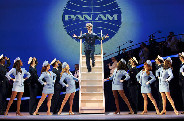 "Stephen Anthony as Frank Abagnale Jr. and the chorus of flight attendants in ""Catch Me If You Can."" The musical is playing at the Pantages Theatre in Hollywood."