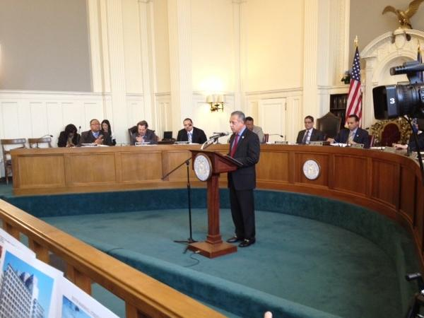 Mayor Pedro Segarra gives his third annual state of the city address at City Hall in the council chambers Monday evening.