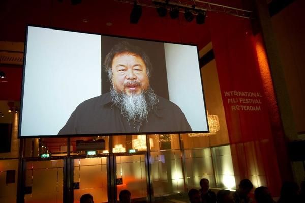 Ai Weiwei announces live on a screen the winners of the 18th edition of the Hivos Tiger Awards in Rotterdam. The Chinese artist was a jury member of the recent International Film Festival Rotterdam in the Netherlands.