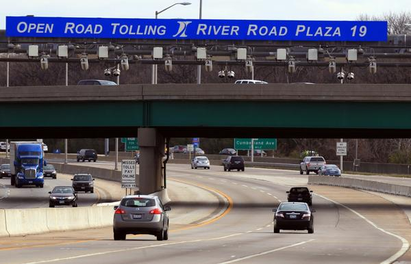 The River Road Open Road Toll on the Jane Addams Memorial Tollway heading southeast into Chicago.