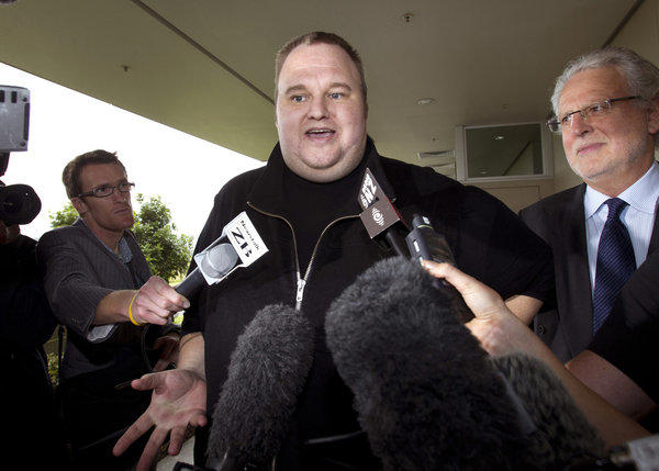 Kim Dotcom, the founder of the file-sharing website Megaupload, talked via Skype at a SXSW conference in Austin, Texas.