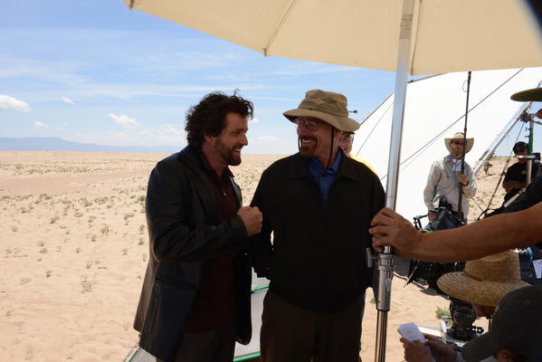 "Louis Ferreira, left, and Bryan Cranston shooting ""Breaking Bad"" in New Mexico."