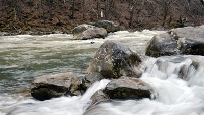 The body of a missing hiker was found in Ohiopyle State park on Saturday. These rapids are downstream from where it was recovered.