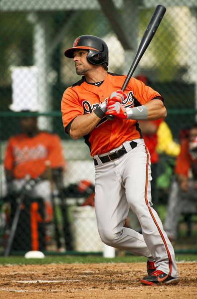 Orioles second baseman Brian Roberts swings at an intrasquad game last month.