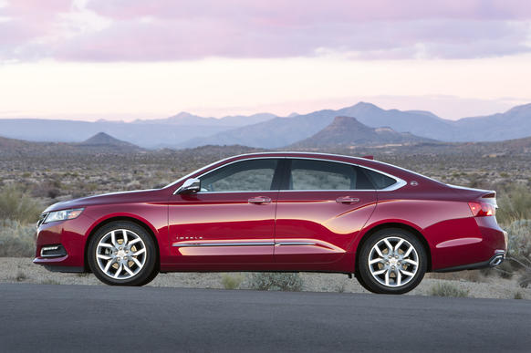 The 2014 Chevy Impala is a full-size, front-wheel-drive sedan. When it initially goes on sale in April, it will have a 3.6-liter V-6 engine making 305 horsepower and 264 pound-feet of torque. The car is aimed at competitors like the Hyundai Azera and Toyota Avalon.