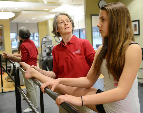 Kaley Casagrande, 13, of Bangor works with Physical Therapist Assistant Margo Clifford Ging of Bethlehem because of problems with her hamstring and both knees as a result of dancing. The newly opened Good Shepherd Physical Therapy ¿ Bethlehem, Performing Arts Rehabilitation Center specializes in physical therapy for performing artists.