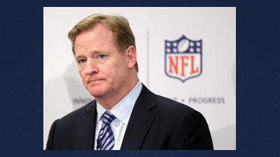 NFL Commissioner Roger Goodell takes questions during an NFL football news conference in New York, Monday. The NFL is partnering with private companies as well as the U.S. Military to further research on head injuries.